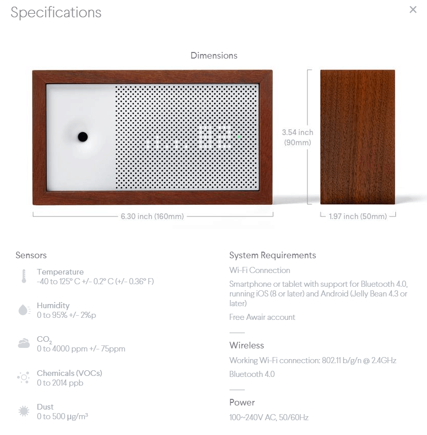 The Awair Specifications