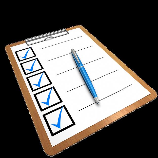 A checklist on a clipboard.